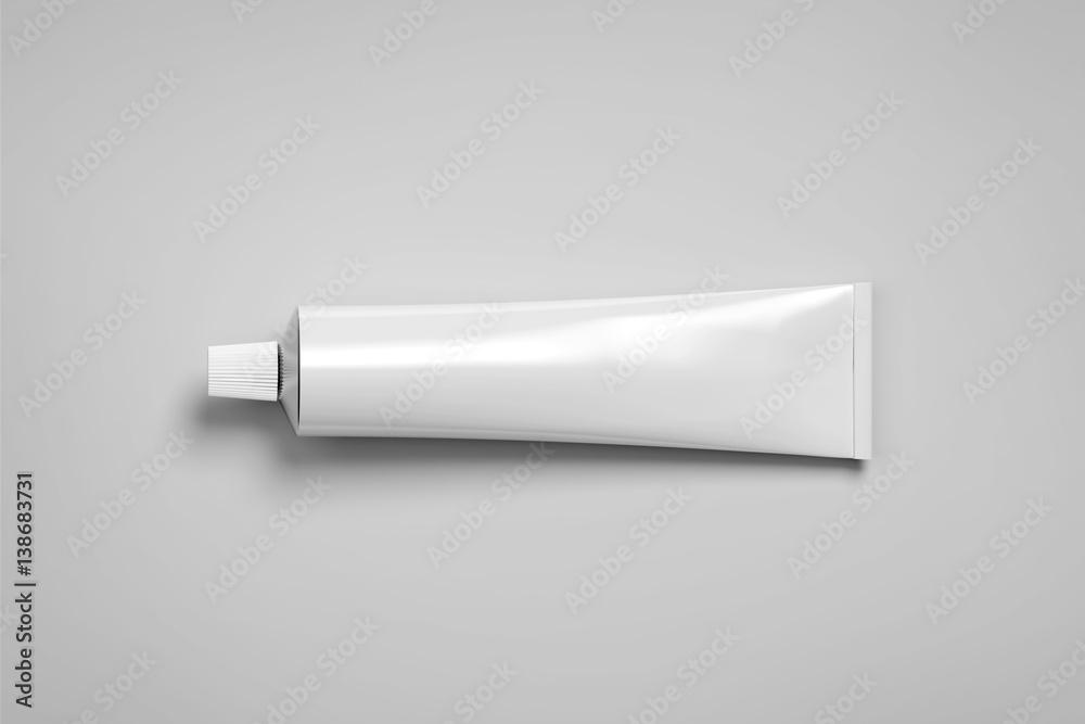 Fototapeta Blank white tube mockup lying, 3d rendering. Clear skincare cream pack design mock up. Clean ointment gel bottle template, logo branding presentation. Empty cosmetic paste plastic packaging cover.