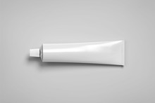 Blank White Tube Mockup Lying, 3d Rendering. Clear Skincare Cream Pack Design Mock Up. Clean Ointment Gel Bottle Template, Logo Branding Presentation. Empty Cosmetic Paste Plastic Packaging Cover.