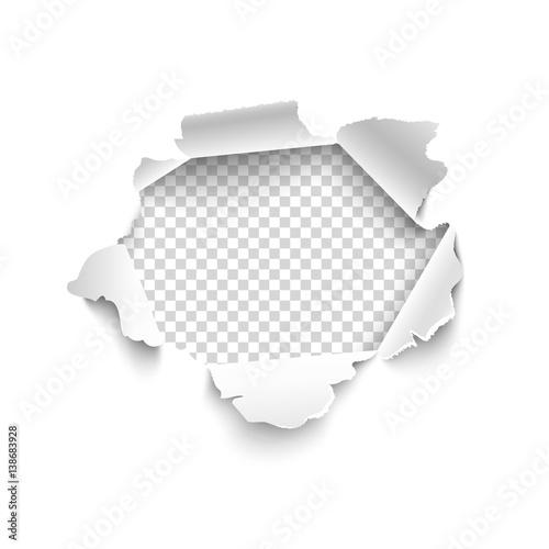 Fotografía  Hole in white paper