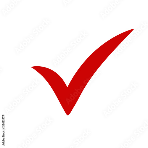Red Tick Red Check Mark Tick Symbol Icon Sign In Red Color Done