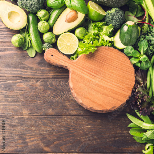 Background With Chopping Board And Orted Green Vegetables Salad Avocado Cuber Lime