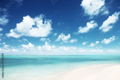 "Community Maske ""army blue"" - sunny tropical beach (von Iakov Kalinin)"