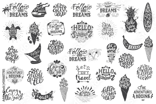 Fotografia Summer travelling Hand drawn lettering, typography inscriptions