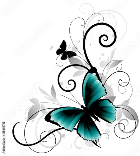Foto op Aluminium Vlinders in Grunge Beautiful ornament with blue butterfly