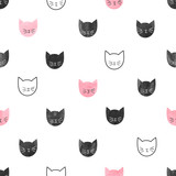 Seamless cute cats pattern. Vector background with watercolor cat heads - 138692911