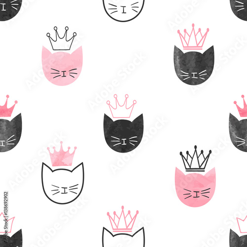 seamless-watercolor-princess-cats-pattern-vector-background-for-kids-design