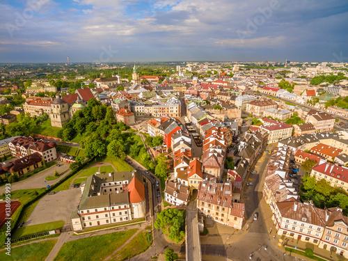 Fototapeta Lublin z lotu ptaka. Panorama starego miasta. obraz