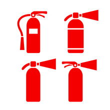 Red Fire Extinguisher Vector Icon Set