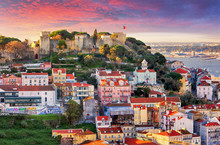 Lisbon, Portugal Skyline With Sao Jorge Castle