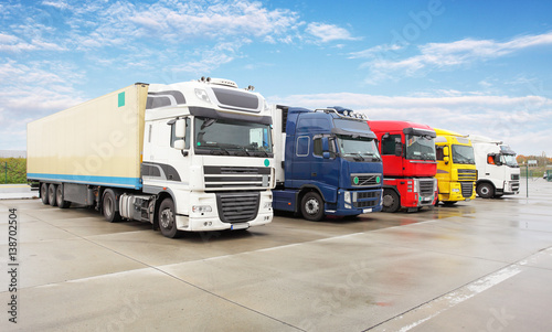 Vászonkép Truck, transportation, Freight cargo transport, Shipping