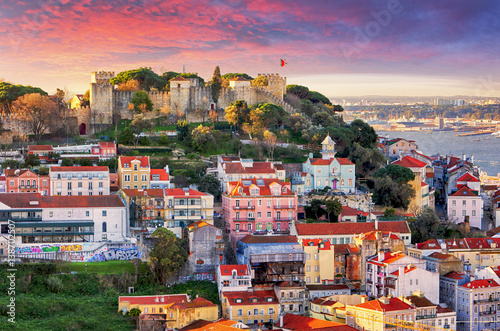 Lisbon, Portugal skyline with Sao Jorge Castle