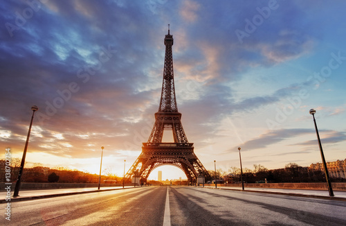 Paris -  Eiffel tower at sunrise.