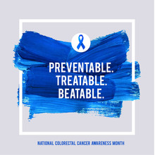 CLORECTAL Cancer Awareness Creative Grey And Blue Poster. Brush Stroke And Silk Ribbon Symbol. National Colon Cancer Awareness Month Banner. Brush Stroke And Text. Medical Square Design