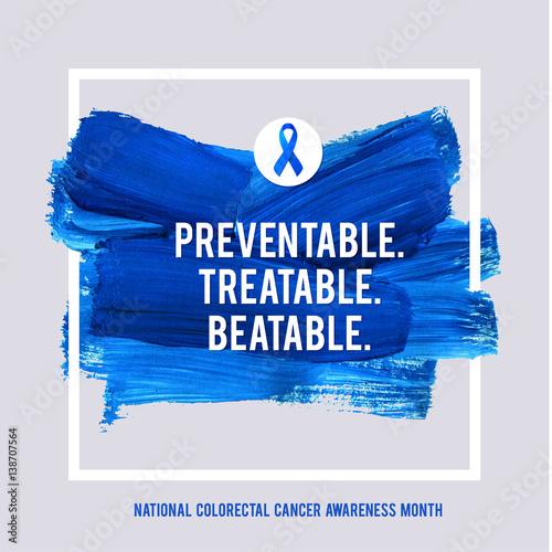 Clorectal Cancer Awareness Creative Grey And Blue Poster Brush