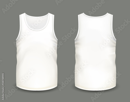Fotografía  Men's white sleeveless tank in front and back views