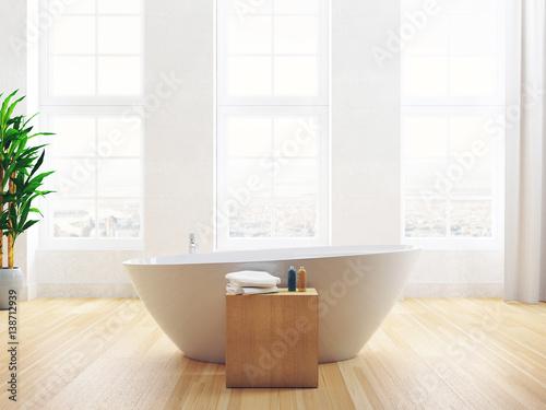 Vasca da bagno con finestra luminosa di attico e parquet u kaufen