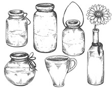 Collection Of Hand Drawn Vases And Jars.