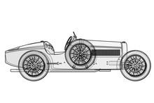 Ancient Race Car Bugatti In Co...