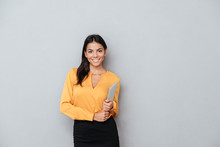Business Woman Holding Tablet ...