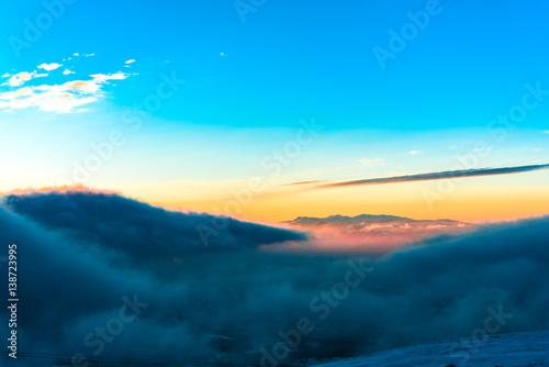 Printed kitchen splashbacks Cappuccino Winter sunset in carpathian mountains
