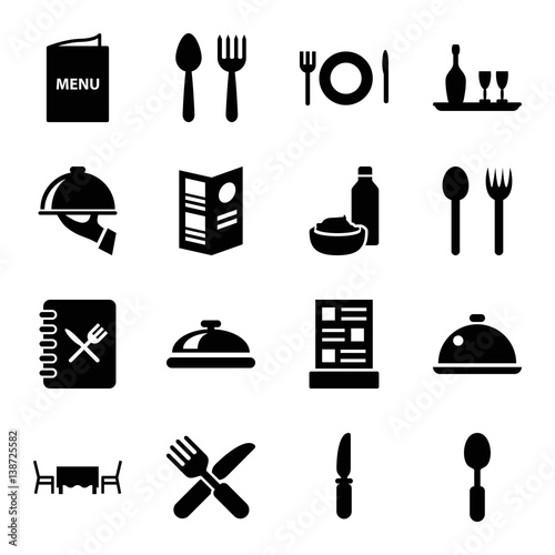 Fotomural  Set of 16 dining filled icons