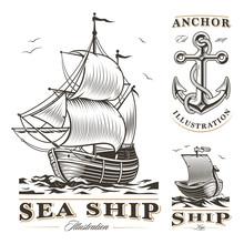 Set Of Vintage Ships