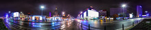 Night Skyline Of Warsaw With Soviet Era Palace Of Culture And Science. 360 Degree Panoramic Montage From 20 Images