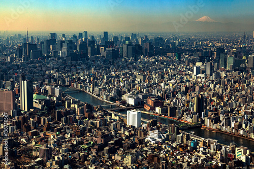 Plakat Widok z lotu ptaka Tokio Japonia linia horyzontu