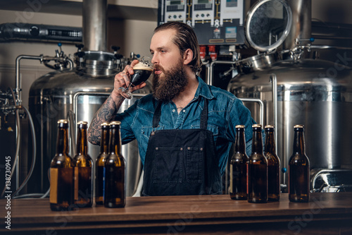 Photographie A man manufacturer tasting beer in the microbrewery.