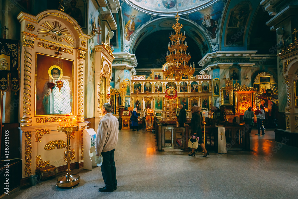 Fototapety, obrazy: Interior Of Belarussian Orthodox Cathedral of St. Peter and Paul