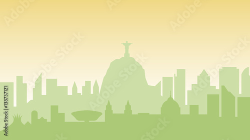 Deurstickers Groene Brazil silhouette architecture buildings town city country travel