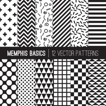 Black White Memphis Style Geom...