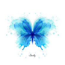 Beautiful Blue Watercolor Abst...