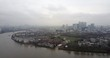 Panoramic aerial view of river Thames and overview of London city 4K footage