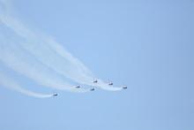 The Thunderbirds Over The Atlantic Ocean In Florida