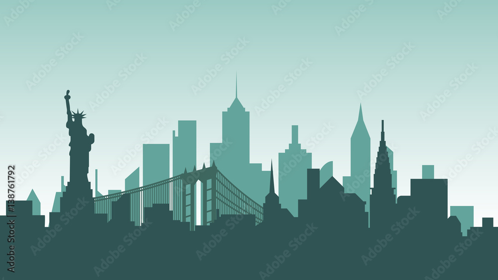 Fototapety, obrazy: United States of America silhouette architecture buildings town city country travel