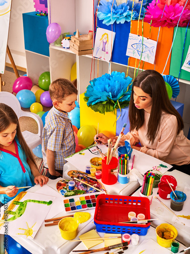 Childrens Paint Brushes And Children Painting And Drawing In Kids