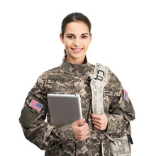 Female Soldier With Tablet On White Background