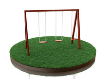 3d Wooden Swing On Park.