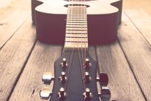 Vintage Tone: Guitar On Wood Table