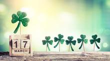 Saint Patricks Day - Calendar With Green Clovers