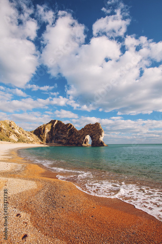 Durdle Door rock formations on coast of Dorset, England Poster