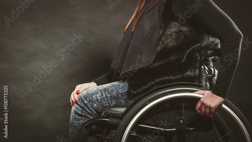 Photo  Depressed person on wheelchair.
