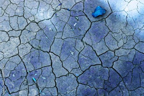 Fotografie, Obraz  Abstract blue tone crack texture of soil background