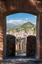 Perspective Of The Old Greek Theater Of Taormina Seen From A Section Of Its Upper Perimetral Wall