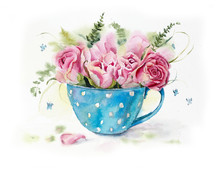 Cup With Pink Roses. Greeting ...
