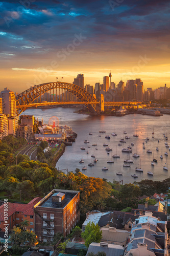 Staande foto Sydney Sydney. Cityscape image of Sydney, Australia with Harbour Bridge and Sydney skyline during sunset.