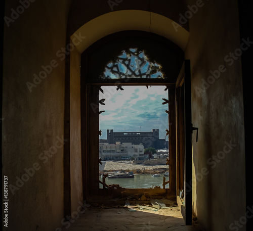 View to Baghdad and Tigris river from the broken window of Al-Mustansiriya Madrasah, Iraq