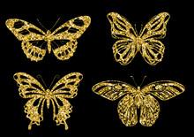 Set Gold Butterflies Geometric Shapes. Vector Illustration EPS.