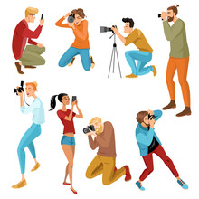 Set Of Isolated Illustrations Of People Making Photos